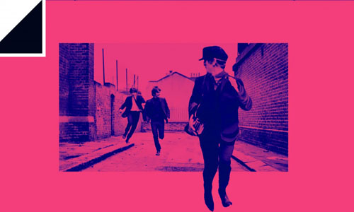 A pink image of three men running away